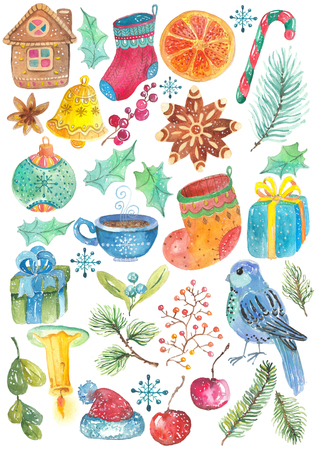 gold stars: christmas background with different colorful elements, watercolor illustration for holiday design