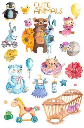 Cute watercolor animals and different elements for children