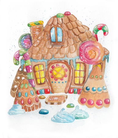 Watercolor hand drawn colorful gingerbread house with decorations. Christmas illustration for holiday cards or posters