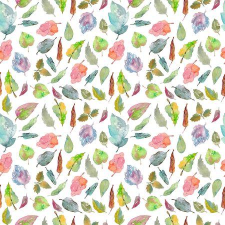 foliages: Watercolor foliage pattern, seamless background Stock Photo