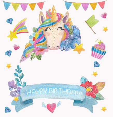 Cute watercolor flower background with magic unicorn, star and flags, colorful greeting card