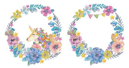 다채로운 인사말 카드의 디자인을위한 마법의 유니콘과 꽃, 귀여운 수채화 화환