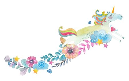 background: Cute watercolor magic unicorn with flowers, clouds , colorful greeting card Stock Photo