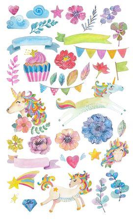 Leuke waterverf magische eenhoorn met bloemen, wolken, kleurrijke verzameling elementen