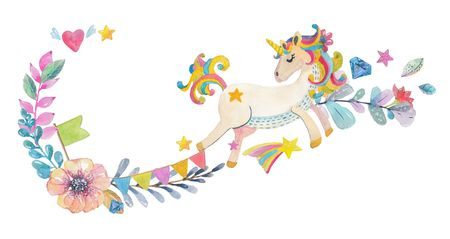 Cute watercolor design with magic unicorn and flowers,for  colorful greeting card