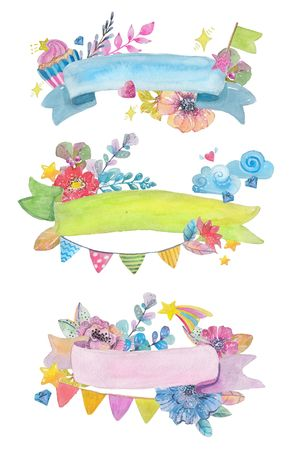 Cute watercolor ribbons with flowers, star and flags, for colorful greeting card