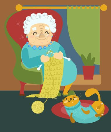 Grandmother knitting, modern flat style illustration