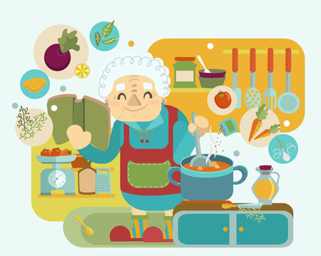 Grandmother cooking, modern flat style illustration