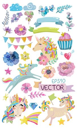 Cute watercolor magic unicorn with flowers, clouds , colorful collection of elements