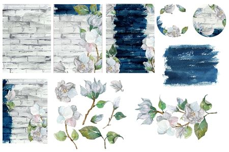 Watercolor collection of floral elements and texture for design of wedding  invitation or save the date, RSVP and thank you card for bridal design