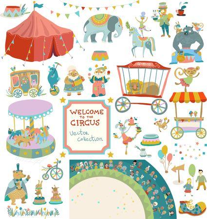 Zirkus-Unterhaltung. Sammlung von Zirkus-Performance-Artikel, Elemente und Charaktere, Vintage Zirkus Vektorgrafik