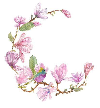 マグノリア、美しい花やあなたの芸術の白鳥水彩枝