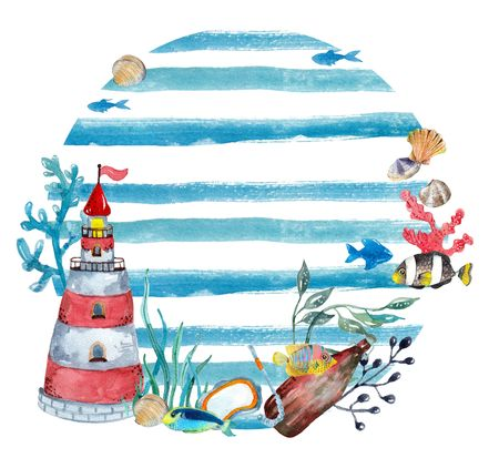 Watercolor nautical background. Hand drawn elements: lighthouse, bottle, fishes and other.Vacation background. Nautical set