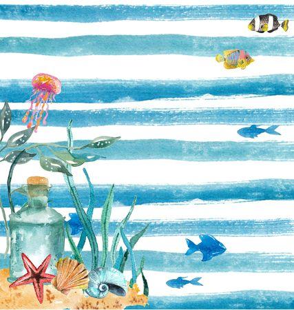 Aquarel nautische achtergrond. Hand getrokken elementen. Vakantieachtergrond. Nautische set