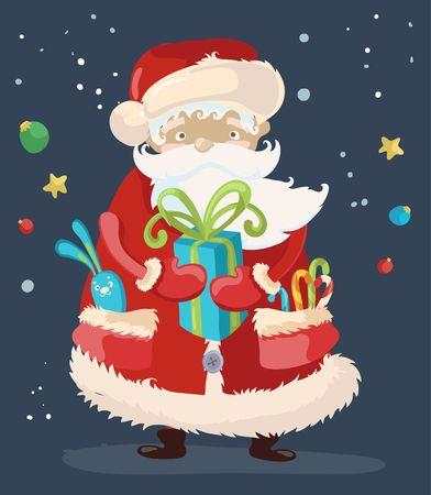 cartoon present: Santa Claus with a  present, cute cartoon illustration