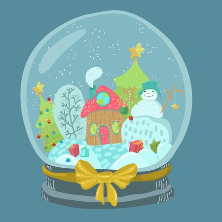 Sneeuwbol met sneeuwpop en huis met kerstboom, Kerstbol illustratie