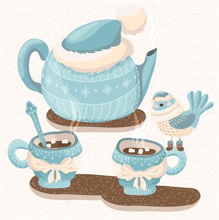ティーポット、マグカップ、鳥、カード デザインのキュートなイラストが冬イラスト