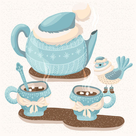 Winter illustration with teapot,  mugs and bird, cute illustration for card design