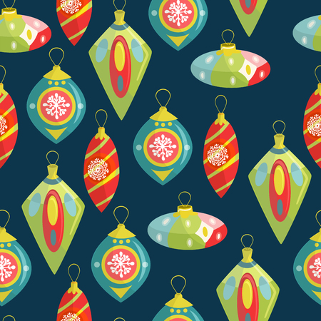 Christmas decorations. Hand-drawn illustration with Christmas toys, seamless pattern for beautiful design of cards, wrapping paper and other