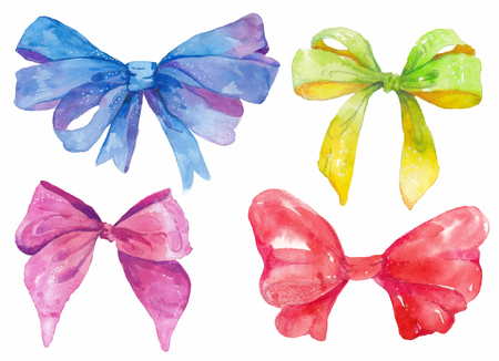 Watercolor hand-drawn set of bows over white background