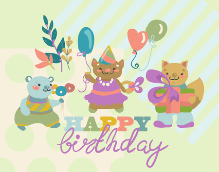cute bear: Birthday background with happy animals cartoon