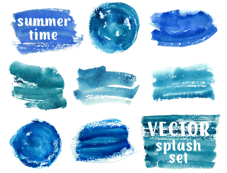 Collection of abstract blue paint brush strokes watercolor background over white