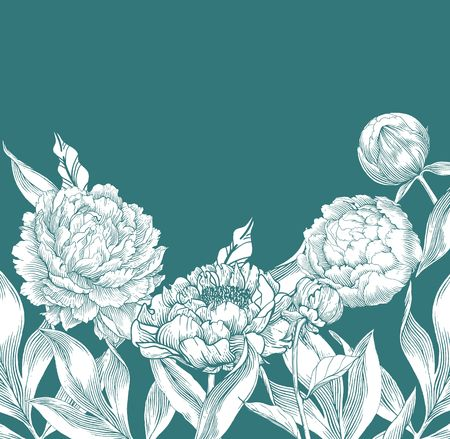 Ink hand drawn illustrations of ornate peonies. Flower buds, leaves and stems, beautiful card design