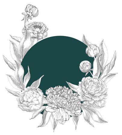 Inkt hand getekende illustraties van versierde pioenen. Bloemknoppen, bladeren en stengels, mooi kaartontwerp