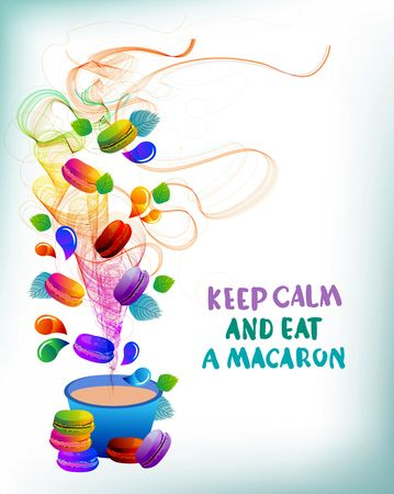 滴と抽象的な波、デザインの美しい背景とカラフルなフランス マカロン クッキー  イラスト・ベクター素材