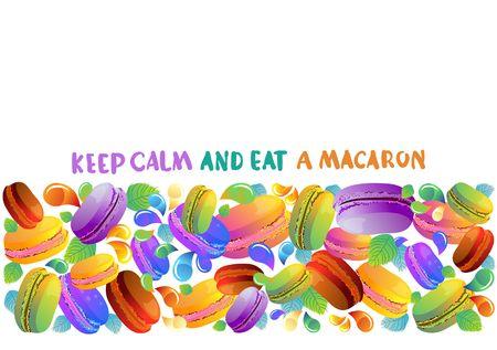 滴、デザインの美しい背景とカラフルなフランス マカロン クッキー  イラスト・ベクター素材