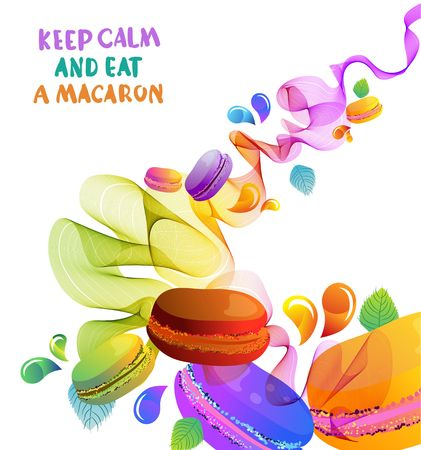 Colorful french macaron cookies with drops and abstract waves, beautiful background for design Illustration