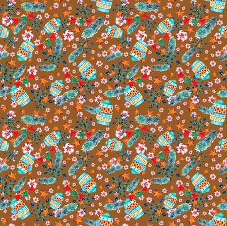Christmas seamless pattern with mittens, winter pattern, will be good for design of  wrapping paper, wallpaper, textile, fabric, etc.