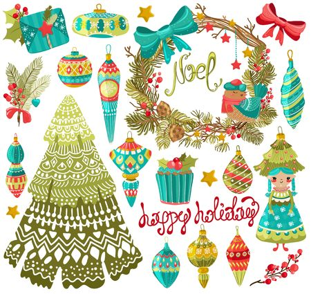 Collection of cute Christmas elements, for bright, colorful holiday design Illustration