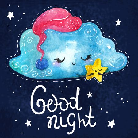 Cartoon night scene with cute cloud and star, colorful illustration