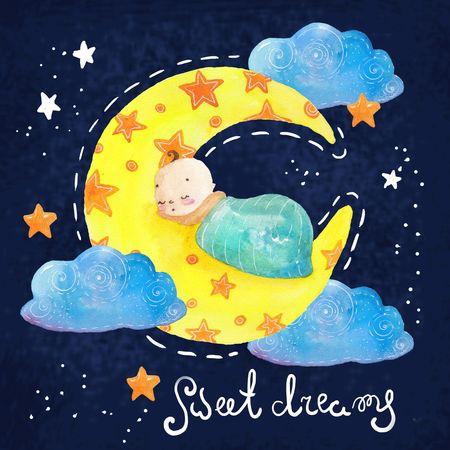 Scène de nuit de bande dessinée avec un nuage et une étoile mignons, illustration colorée Banque d'images - 81942686