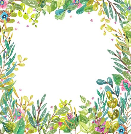 Watercolor beautiful floral design. Hand painted floral composition over white background. different kind of branches, flowers and leaves