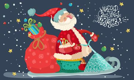 スノーモービル、かわいい漫画イラスト上に赤いギフト バッグとサンタ クロース  イラスト・ベクター素材