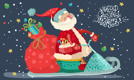 Santa Claus with red gift bag on the snowmobile, cute cartoon illustration