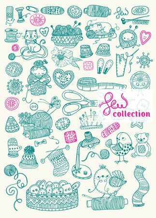 Sewing Kit big collection, Doodles, hand drawn design elements