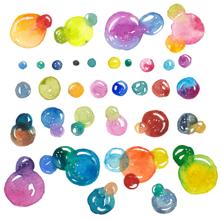 Watercolor bubbles collection, colorful illustration Stock Photo