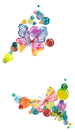 Amazing background with butterflies and bubbles painted with watercolors