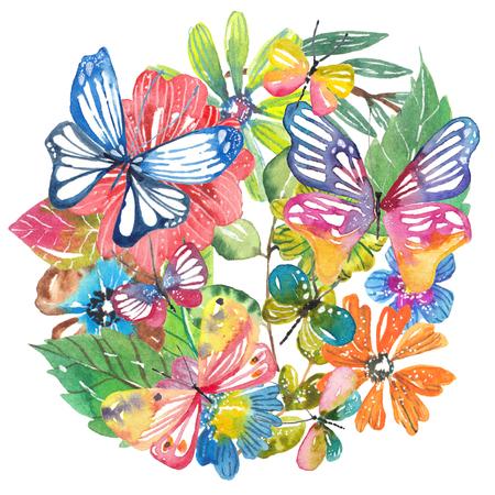 Acquerello bello disegno floreale con farfalle. Composizione floreale verniciata a mano su sfondo scuro. Diversi tipi di rami, fiori e foglie Archivio Fotografico - 82756395