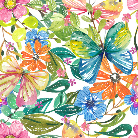 Watercolor beautiful floral design with butterflies. Hand painted floral composition over dark background. different kind of branches, flowers and leaves, seamless pattern Stock Photo