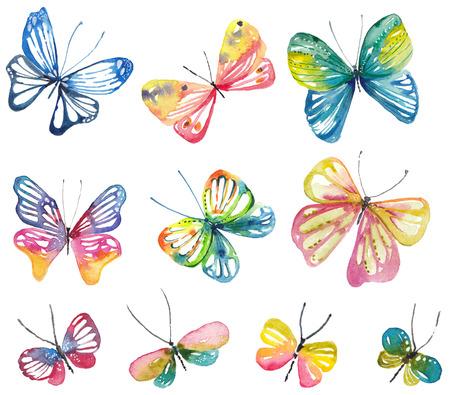 Collezione di farfalle ad acquerello per un bel design Archivio Fotografico - 82756403