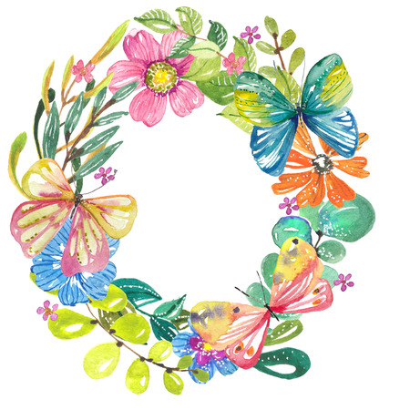 Watercolor beautiful floral design with butterflies. Hand painted floral composition over dark background. different kind of branches, flowers and leaves
