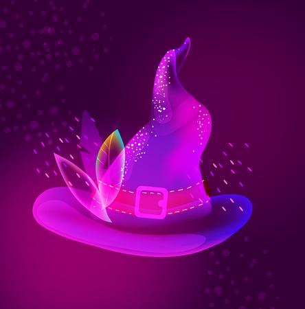 休日のデザイン、モダンなイラストのハロウィン明るい帽子