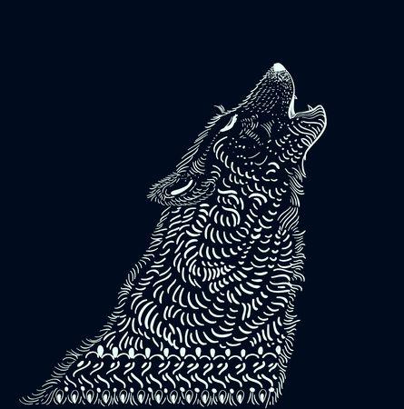 Doodle wolf illustration over dark Illustration