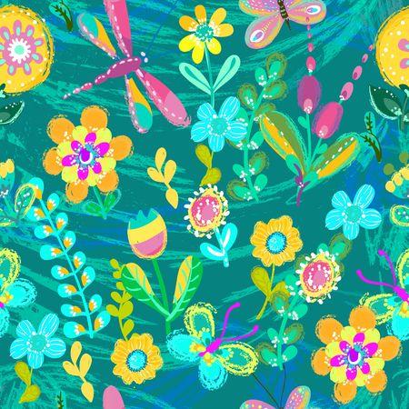 Ilustración de flor, fondo colorido brillante para hermoso diseño, ilustración inconsútil Foto de archivo - 84140798