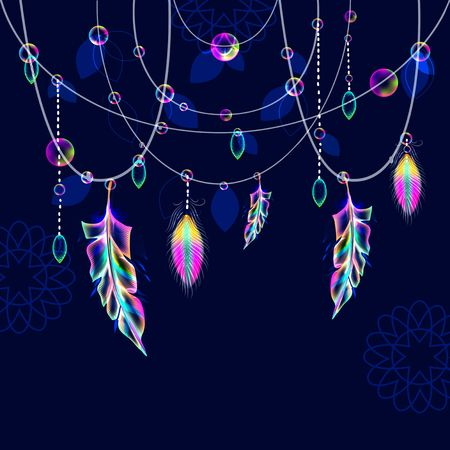 Bright pendant with feathers and beads over dark, modern illustration