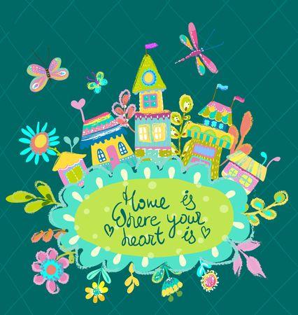 Home Sweet Home illustratie, lichte achtergrond met huizen en bloemen. Schattige kleurrijke illustratie Vector Illustratie